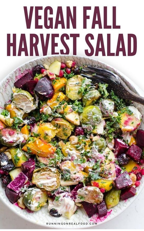 Fall Harvest Salad With Maple Tahini Dressing