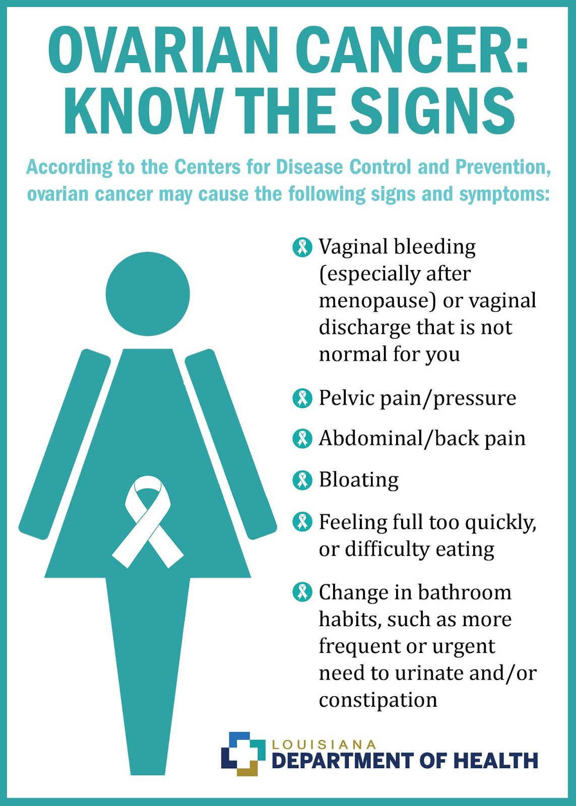 louisiana department of health  ovarian cancer awareness month  know the signs and symptoms