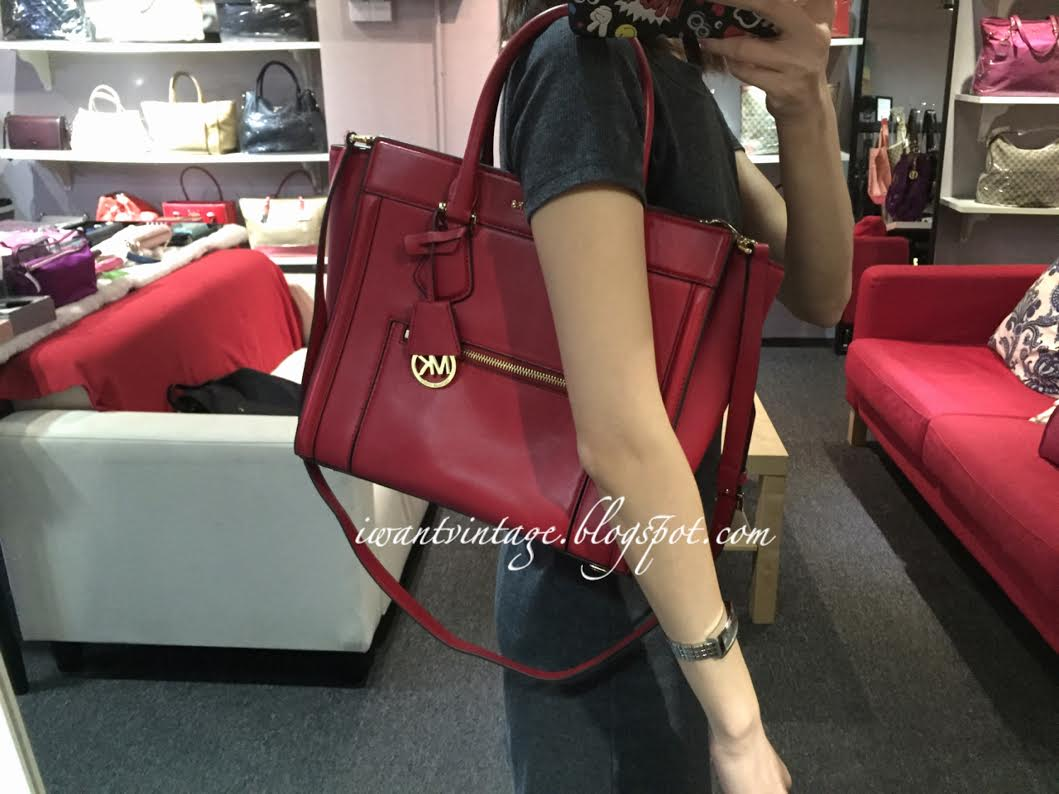 3b4acffb6f6d ... coupon code for michael kors colette large leather satchel bag red  7a080 7ee6d