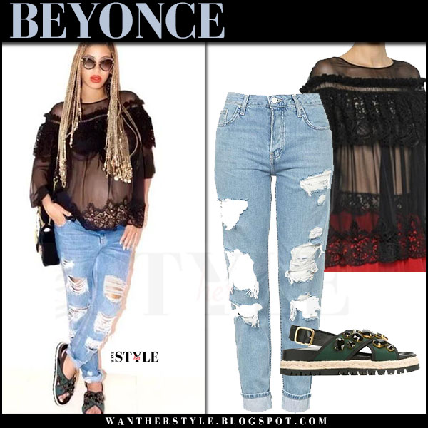 Beyonce in sheer black alberta ferretti top, ripped topshop jeans and green marni sandals what she wore may 4 2017