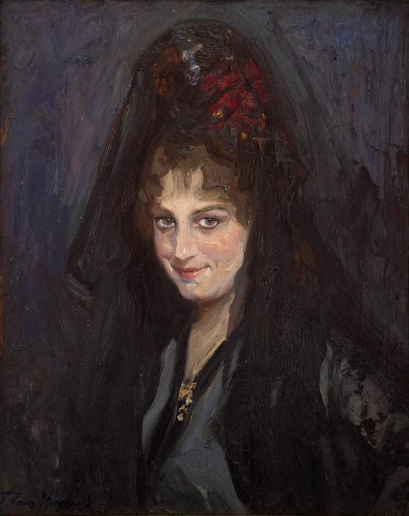 Francisco Pons Arnau, Mujer con mantilla, Pintor español, Pintor Valenciano, Pintura Valenciana, Impresionismo Valenciano