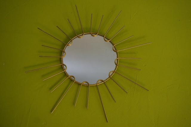 vintage Sunburst golden mirror mid century 1950 1960 50s 60s Miroir annees 60