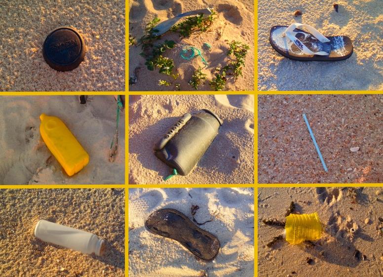 Lixo encontrado na praia