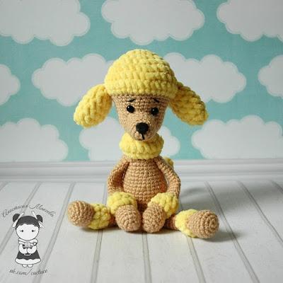 Собачка пудель игрушка крючком