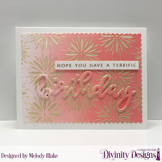 Divinity Designs Stamp/Die Duos: Birthday, Custom Dies: Scalloped Rectangles, Mixed Media Stencils: Flower Burst