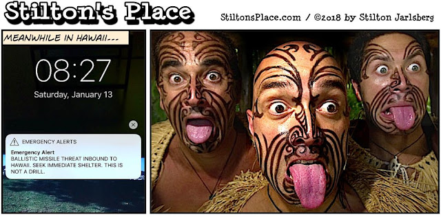 stilton's place, stilton, political, humor, conservative, cartoons, jokes, hope n' change, hawaii, missiles, false alarm, birth certificate, Obama