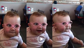 Baby Girl Is Seeing Clearly For The First Time With Her New Glasses - Video hd