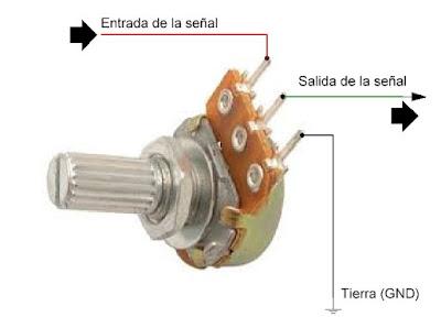 Potenciometro para controlar volumen.