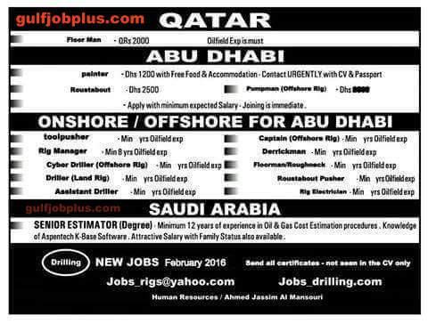 New Off shore/Onshore Jobs in Abu Dhabi UAE and Qatar - GULF JOB PLUS