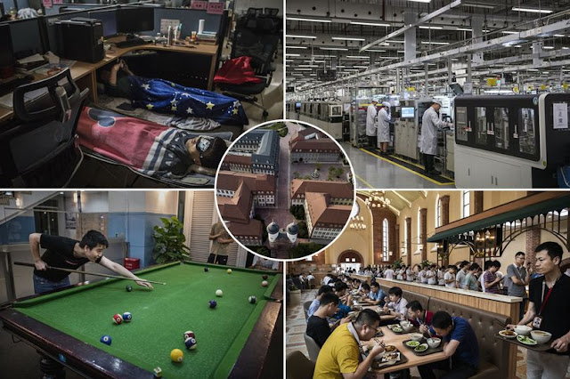 Inside Huawei: The $100 billion tech firm where laborers eat in a congregation themed bistro and rest under  their desks