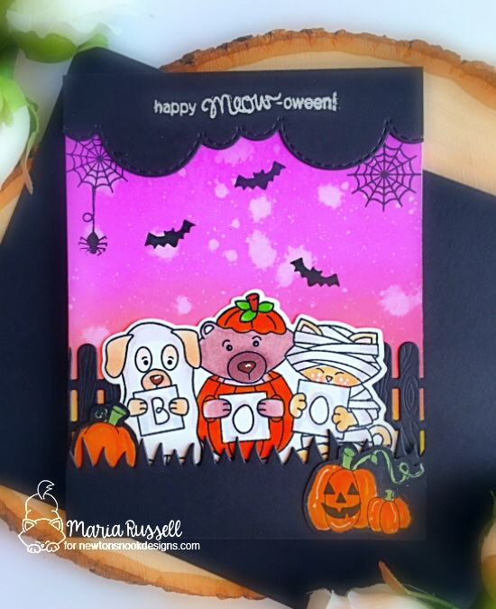 Halloween Scene Card by Maria Russell | Halloween Trio and Newton's Perfect Pumpkin Stamp Sets by Newton's Nook Designs #newtonsnook #handmade