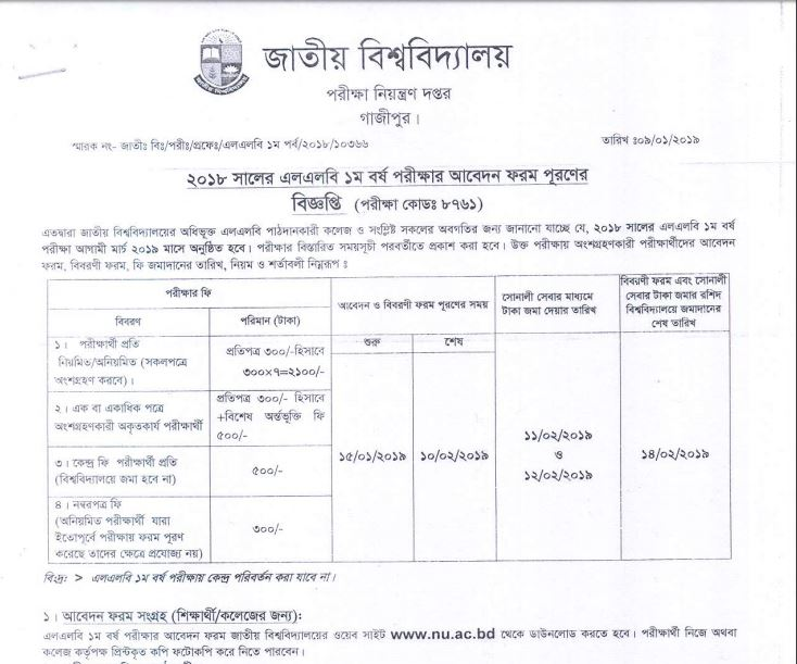 National University LLB 1st Year Form Fill-up Notice 2018