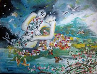 https://www.latelierdannapia.com/ la montagna degli innammorati uccelli in  coppia  quadro acrilico su tela, onirico poetico surrealista montagne amoureux