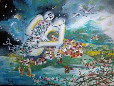 Annapia Sogliani https://www.latelierdannapia.com/ la montagna degli innammorati uccelli in  coppia  quadro acrilico su tela, onirico poetico surrealista montagne amoureux