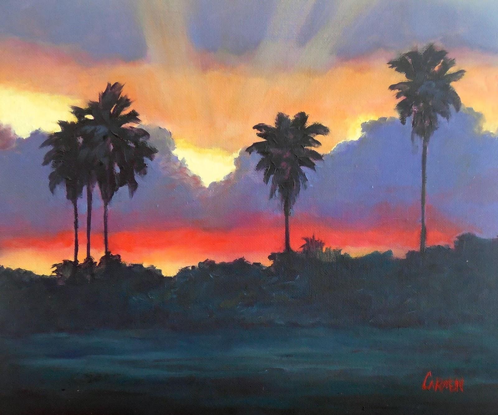 Carmen Beecher Florida Sunset 10x8 Original Oil