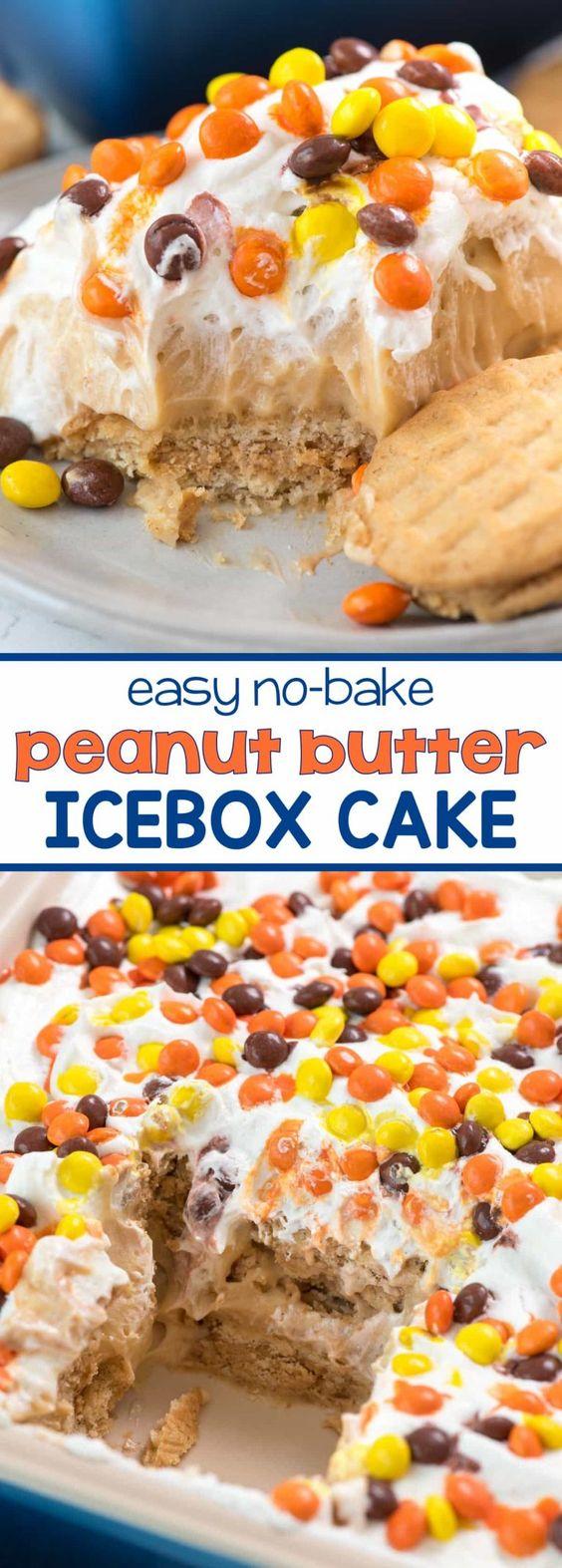 No Bake Peanut Butter Icebox Cake
