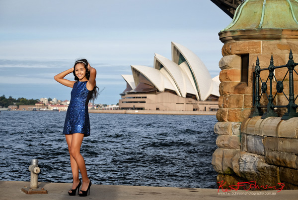 Blue dress XV Birthday portrait in Sydney with the Opera House and harbour in the background. Photographed by Kent Johnson.