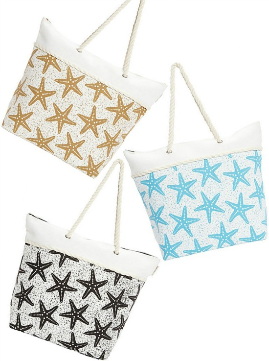 Beach Starfish Tote Bags in Blue, Sand and Black