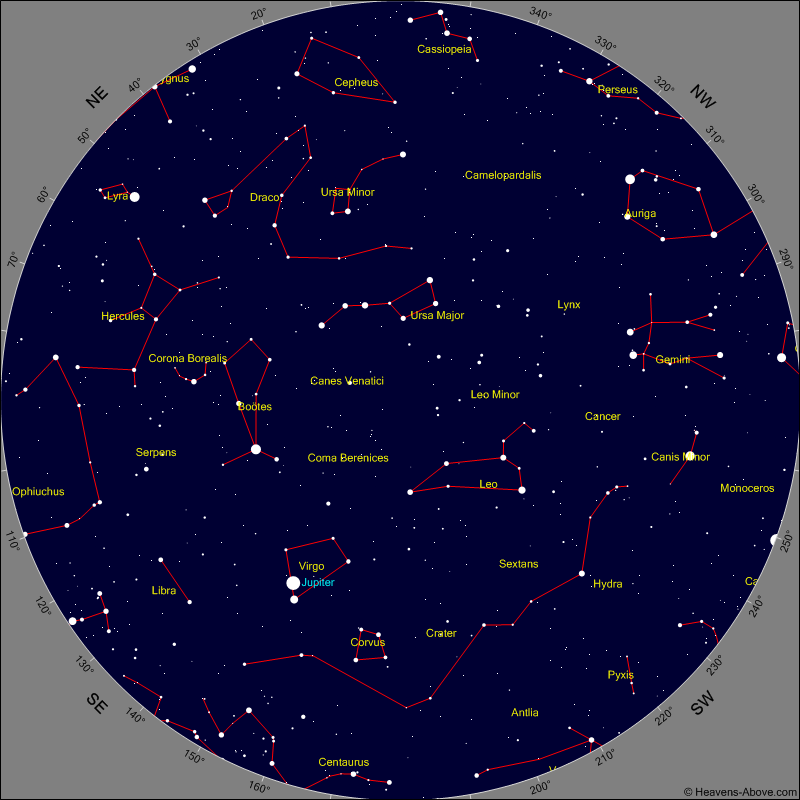 Sky Chart for the Morning of Saturday January 28th