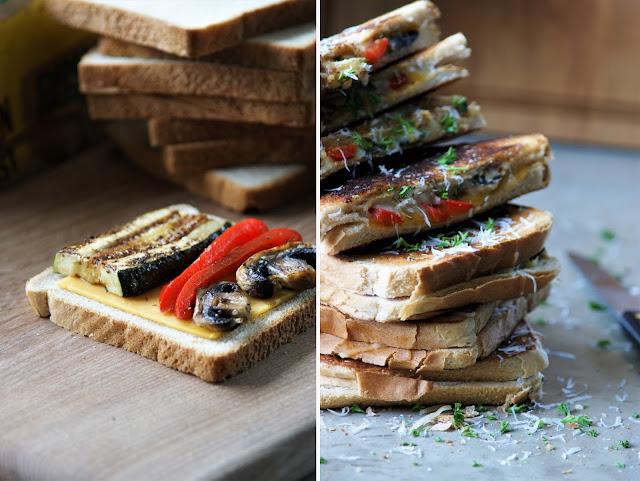 Grilled Cheese Sandwichs mit Grillgemüse