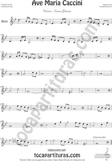Horn Sheet Music Ave Maria by Caccini  Classical Music Scores