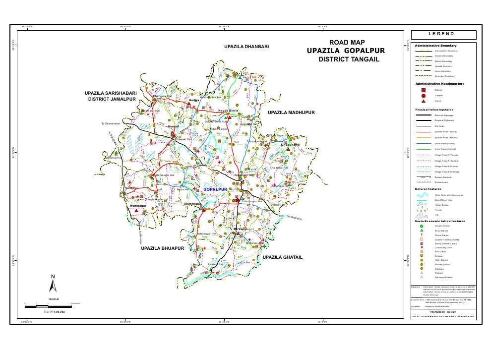Gopalpur Upazila Road Map Tangail District Bangladesh