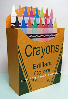 finished crayon box papercraft card