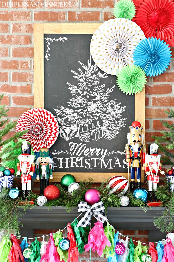 Christmas decorations, Christmas Mantel, Merry Christmas Chalkboard, Hobby Lobby, nutcrackers