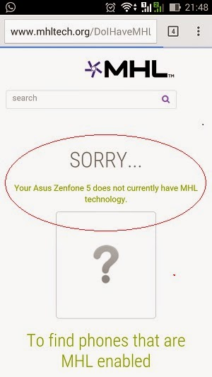 Asus Zenfone 5 not MHL certified