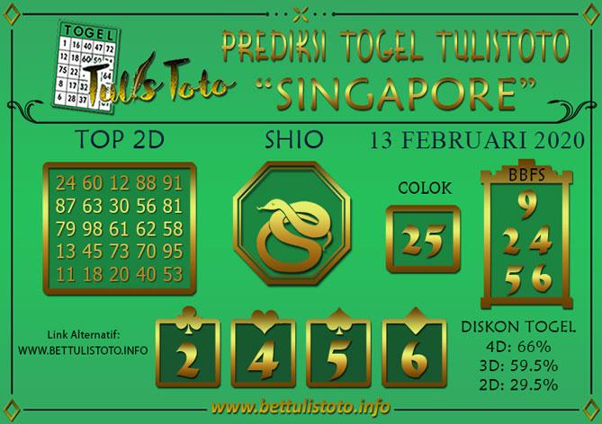 Prediksi Togel SINGAPORE TULISTOTO 13 FEBRUARI 2020