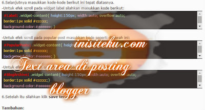 membuat kolom copast (text area) sederhana di posting blogger (2)