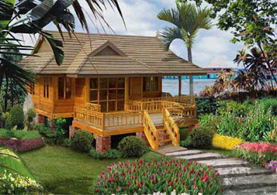 Desain Rumah Kayu Dilepas Pantai