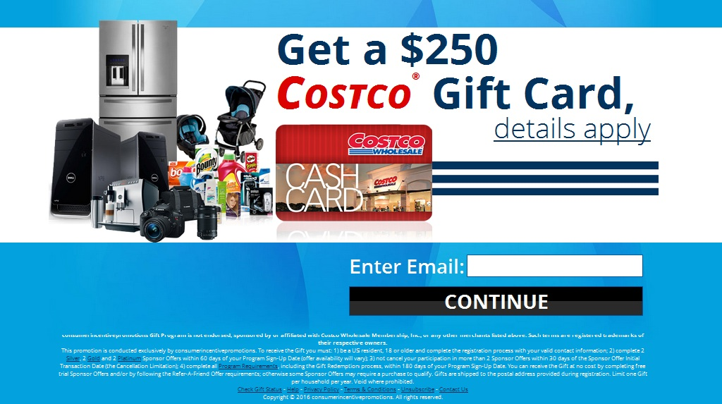 Get a $250 Costco Gift Card at no cost! | GiftCardOffersUSA.Com