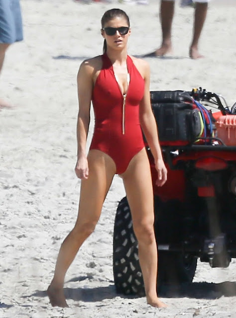 Alexandra Daddario in Swimsuit Filming 'Baywatch'