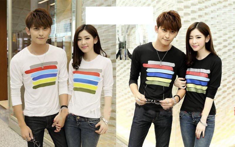 Jual Online LP Rainbow Couple Murah Jakarta Bahan Combed Terbaru