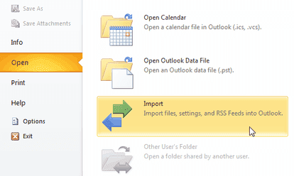 import outlook 2010