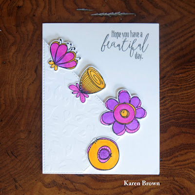 Dry Embossing with stencil from Dylusions Garden Leaves