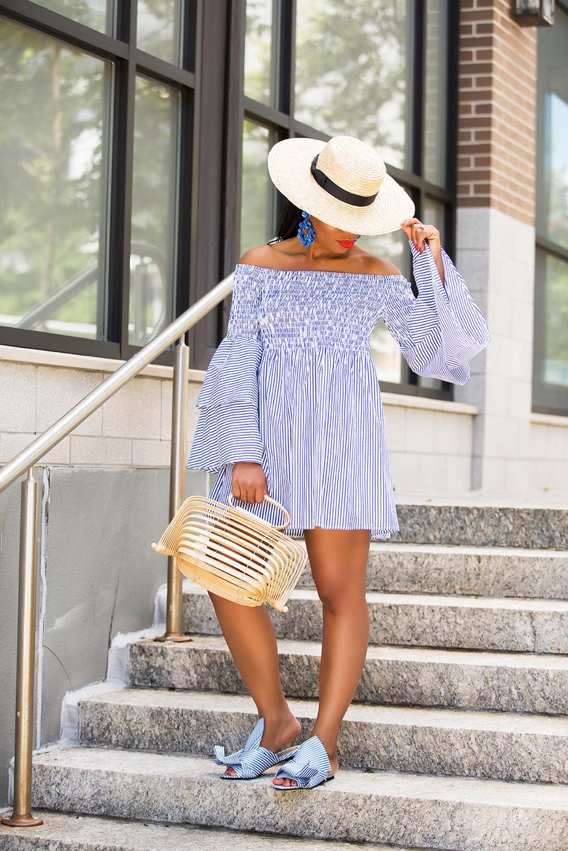summer dress, bell sleeves stripe dress, www.jadore-fashion.com