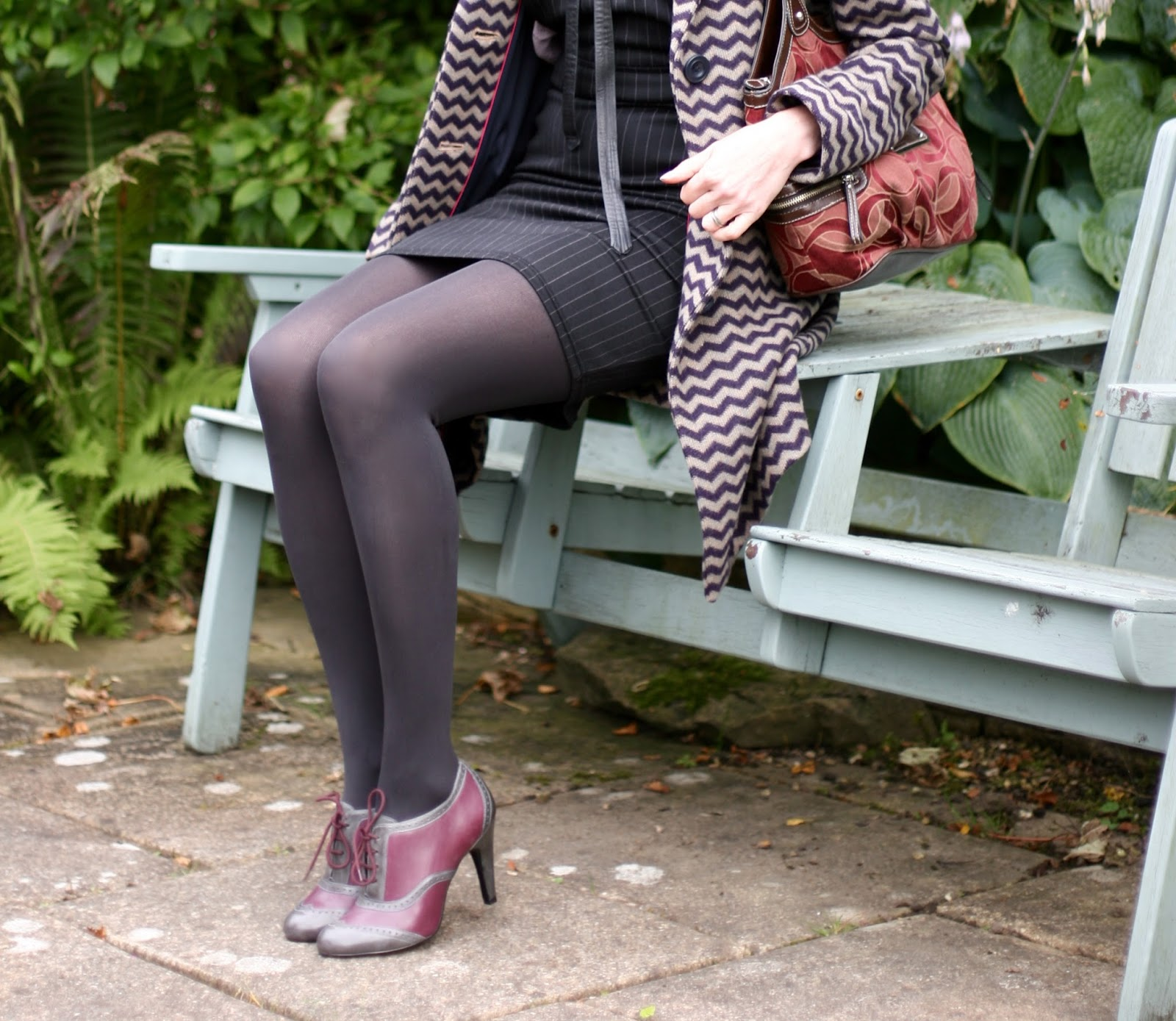 Grey tights and two tone Booties | Fake Fabulous