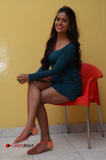 Telugu Actress Prasanthi Stills in Green Short Dress at Swachh Hyderabad Cricket Press Meet  0084.JPG