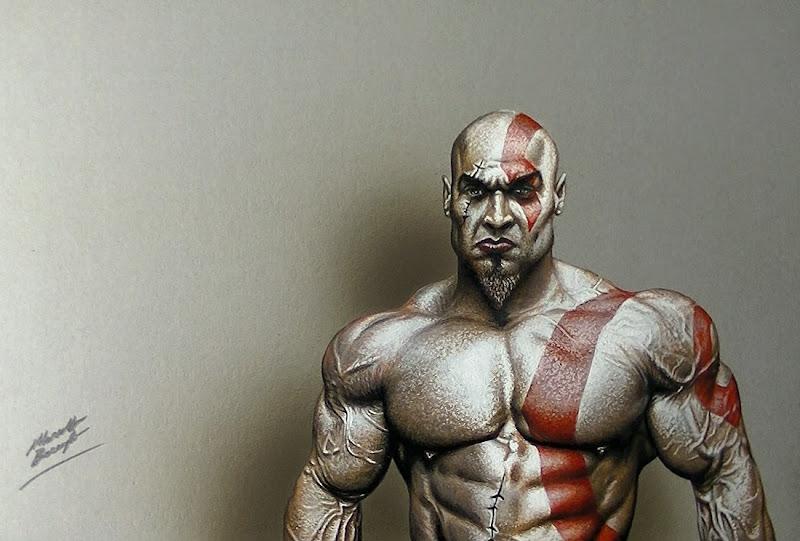 Drawing Kratos God Of War Marcello Barenghi