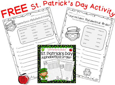 https://www.teacherspayteachers.com/Product/St-Patricks-Day-Differentiated-Alphabetical-Order-3058384