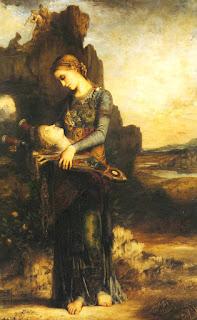 Νεαρή γυναίκα από τη Θράκη φέρει το κεφάλι του Ορφέα, του Gustave Moreau (1865)