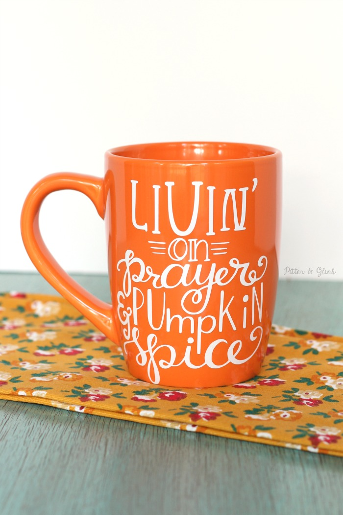 Share Your Love for Pumpkin Spice with This $2 DIY Mug.  Free hand-lettered SVG and Silhouette Studio cut files in post! pitterandglink.com