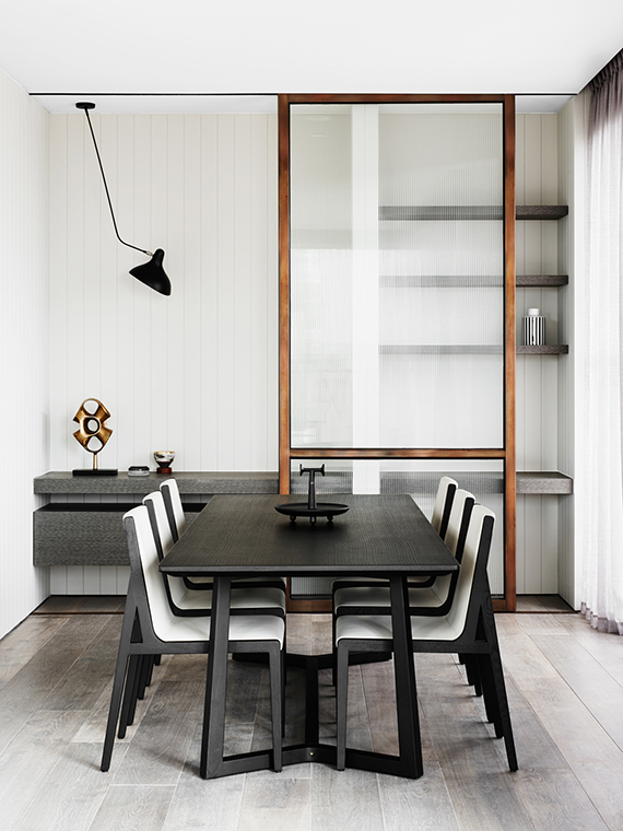 Dining room | Hampton Penthouse. Interior design by Huntly, photo by Brooke Holm
