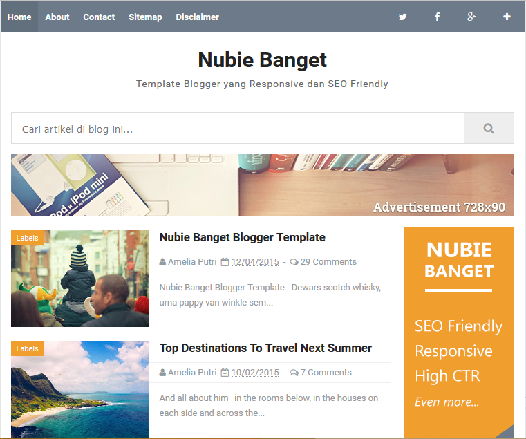 High ctr blogger template nubie banget high ctr responsive blogger template pronofoot35fo Images