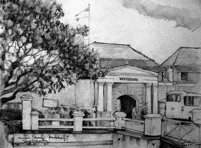 Sketsa Museum Benteng Vredeburg Jogjakarta