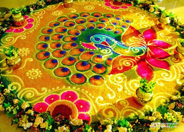 Rangoli Designs and Patterns with Lamps for Diwali 6