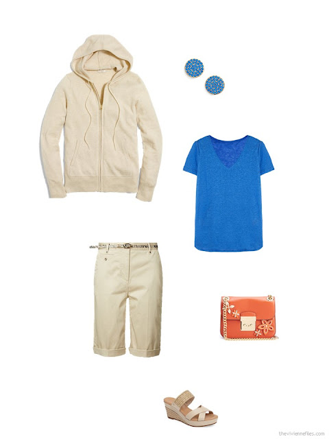 accessorizing a pair of beige shorts with a blue tee shirt