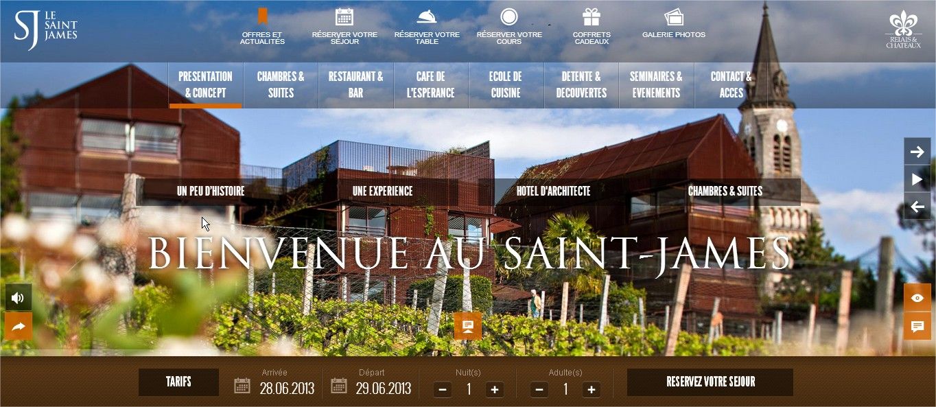 Diadao le blog officiel l h tel le saint james parmi for Les sites des hotels